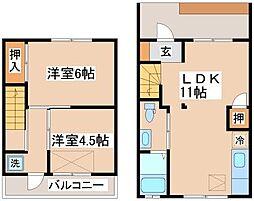 [テラスハウス] 兵庫県神戸市須磨区権現町3丁目 の賃貸【/】の間取り