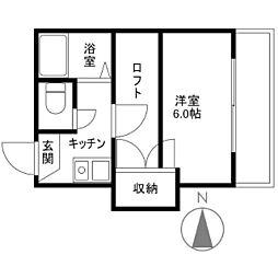 マリンコート新川[0202号室]の間取り