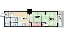 Osaka Metro御堂筋線 新大阪駅 徒歩6分の賃貸マンション 3階2DKの間取り