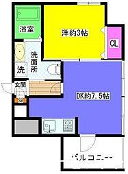 福岡県福岡市博多区中洲2丁目の賃貸マンションの間取り