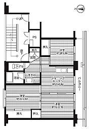 ビレッジハウス中央1号棟 2階3DKの間取り