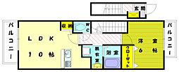 福岡県福津市花見が丘1の賃貸アパートの間取り