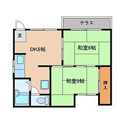 奈良県御所市大広町の賃貸アパートの間取り