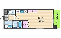 Kaunis都島 2階ワンルームの間取り