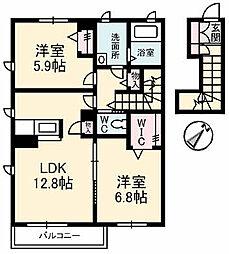 広島県東広島市八本松東7丁目の賃貸アパートの間取り