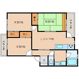 静岡県静岡市駿河区みずほ3丁目の賃貸マンションの間取り