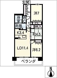 ヴィークコート徳川町502号室[5階]の間取り
