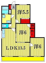 ロワジール北松戸[6階]の間取り