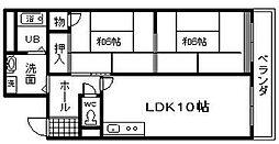 RIZE ONE岸和田 西 レジデンス北館[201号室]の間取り