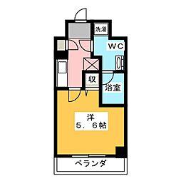 LUMEED川崎 7階1Kの間取り