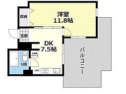 Osaka Metro四つ橋線 肥後橋駅 徒歩5分の賃貸マンション 8階1DKの間取り