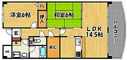 大阪府大阪市東淀川区井高野2丁目の賃貸マンションの間取り