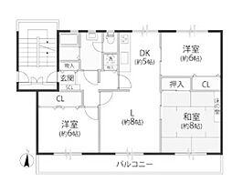 鶴川2丁目住宅11-7[2階]の間取り