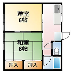 千葉県大網白里市経田の賃貸アパートの間取り