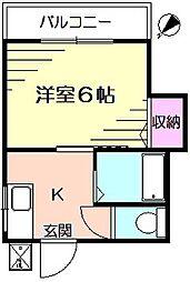 コーポ安井B[1階]の間取り