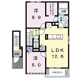 ブライト スクエアIII B[2階]の間取り