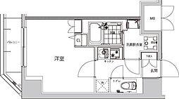 ハーモニーレジデンス早稲田夏目坂 6階1Kの間取り