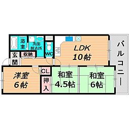 京阪本線 西三荘駅 徒歩9分の賃貸マンション 5階3LDKの間取り