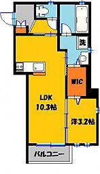 サンガーデンメルヘンII 2階1SKの間取り