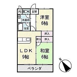 シャインハイム池端 4階[403号室]の間取り