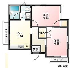 コーポ・ユタカ[2階]の間取り