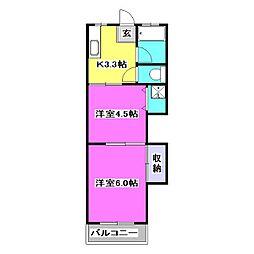 コーポ江広[2階]の間取り