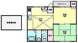 兵庫県神戸市兵庫区夢野町2丁目の賃貸アパートの間取り