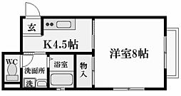 兵庫県西宮市松下町の賃貸アパートの間取り