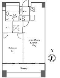リバーシティ21イーストタワーズII 4階1LDKの間取り