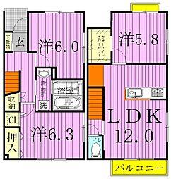 [テラスハウス] 千葉県野田市中里 の賃貸【/】の間取り