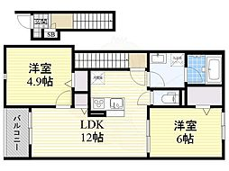 Osaka Metro長堀鶴見緑地線 鶴見緑地駅 徒歩16分の賃貸アパート 2階2LDKの間取り