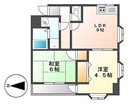 愛知県名古屋市港区宝神5の賃貸アパートの間取り