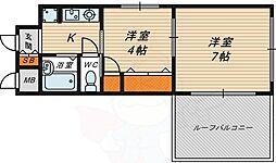 楠青山ビル別館 4階2Kの間取り