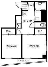 エマーレ上野松が谷 7階2DKの間取り