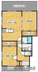 アパートメント佐賀大和[103号室]の間取り