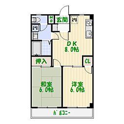 東京都足立区谷中3丁目の賃貸マンションの間取り