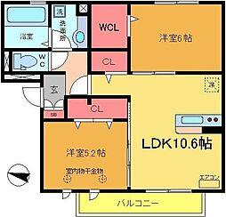 カーサ青井[202号室]の間取り
