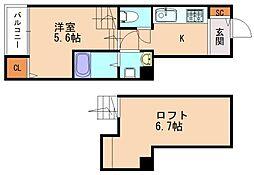 JR鹿児島本線 香椎駅 徒歩5分の賃貸アパート 2階ワンルームの間取り