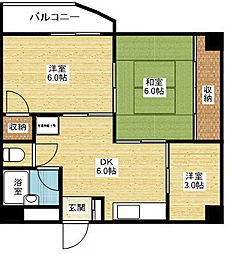 阪急京都本線 上新庄駅 徒歩10分の賃貸マンション 4階3DKの間取り