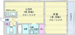 JR東北本線 岩切駅 徒歩10分の賃貸マンション 2階1LDKの間取り