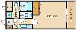 大阪府八尾市東本町2丁目の賃貸マンションの間取り