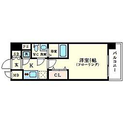 エスリード大阪シティグランツ 8階1Kの間取り