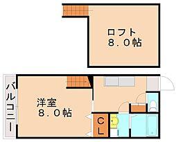 福岡県福岡市城南区飯倉1丁目の賃貸アパートの間取り