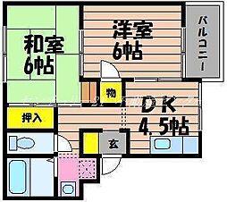 岡山県倉敷市玉島3丁目の賃貸アパートの間取り