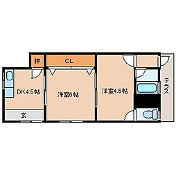 兵庫県尼崎市大庄川田町の賃貸アパートの間取り