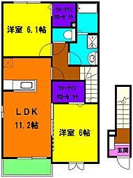 静岡県磐田市和口の賃貸アパートの間取り