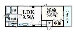 クレッソ六甲道 5階1LDKの間取り