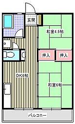 フラワーハイツA[3階]の間取り