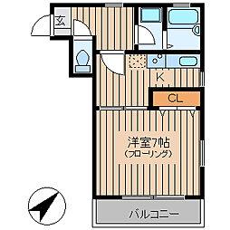 東武東上線 北池袋駅 徒歩4分の賃貸マンション 2階1Kの間取り
