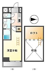 エステムコート名古屋栄デュアルレジェンド[8階]の間取り